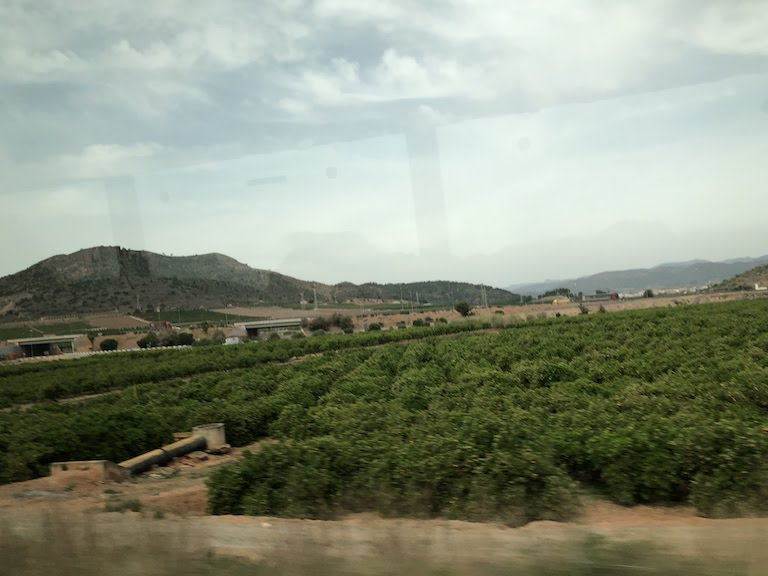 バルセロナ-バレンシア間の風景