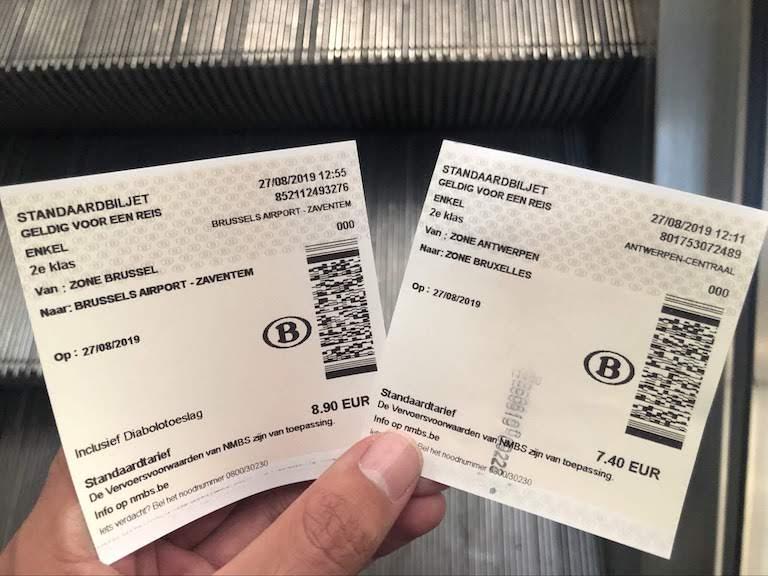 アントワープ〜ブリュッセル空港 電車チケット