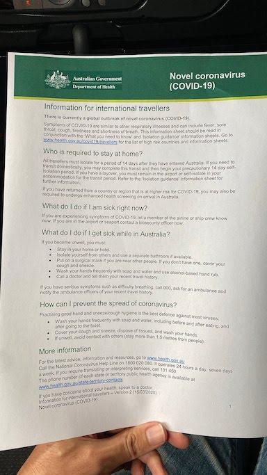オーストラリア コロナウィルス対策措置案内