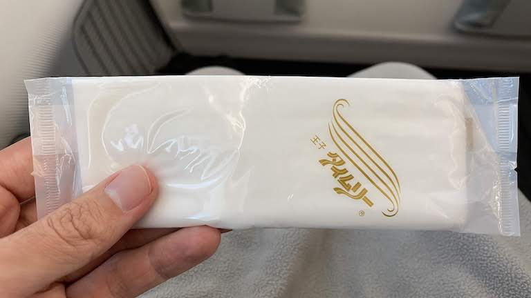 JAL国際線プレミアムエコノミー おしぼり